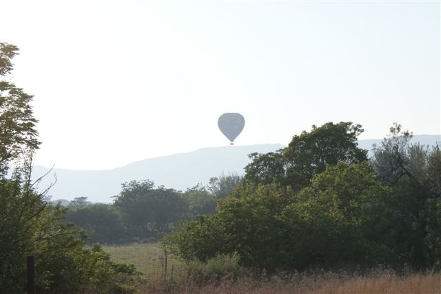 Hot air balloons glide gracefully over the Magaliesberg
